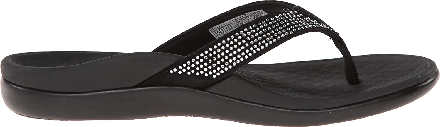 Vionic Womens Tide Rhinestones Toe-Post Sandal Ladies Flip-Flop with Concealed Orthotic Arch Support