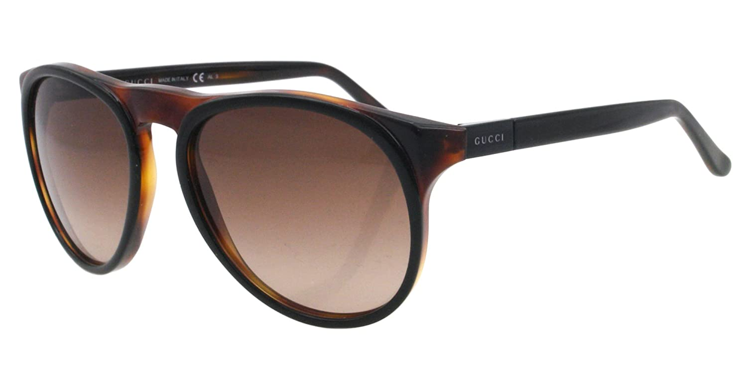 b112dceb90b8a Gucci Men s 1014 Black   Tortoise Frame Brown Gradient Lens Plastic  Sunglasses  Amazon.co.uk  Clothing