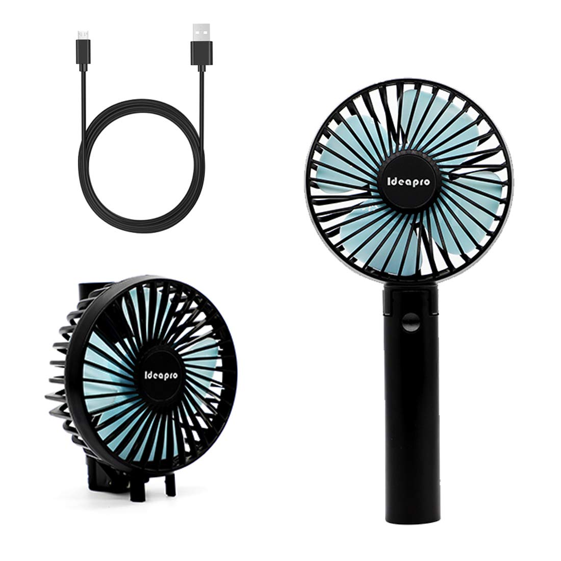 Mini Handheld Fan, idearpro Personal Portable Desk Stroller Table Fan with USB Rechargeable Battery Operated Cooling Folding Electric Fan for Office Room Outdoor Household Traveling