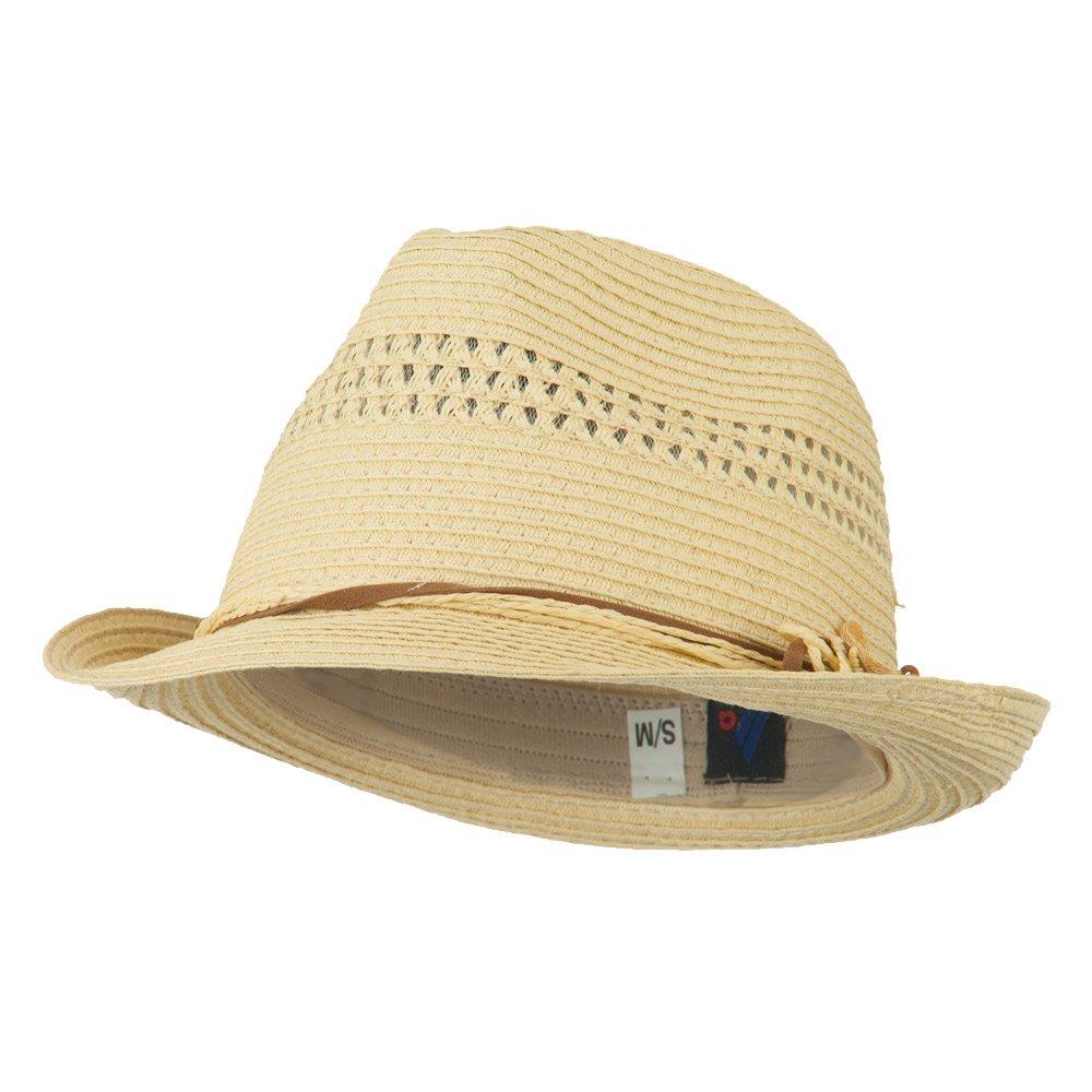 MG Ladies Toyo Braid Fedora Hat - Natural OSFM