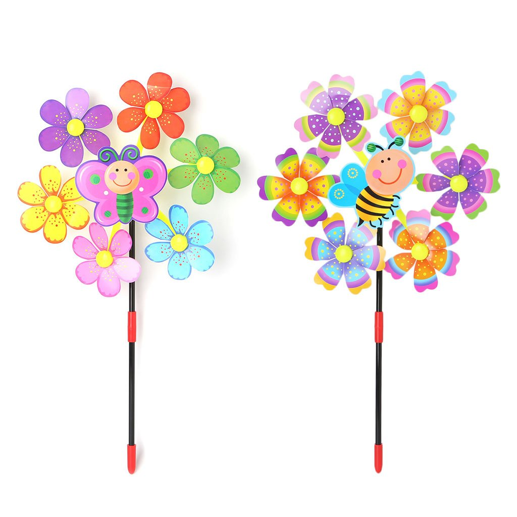 Autone Kid Windmill Toys, Bee Print Sky Wheel Garden Ornaments Colorful Outdoors Wind Spinner, Random Color 1PC