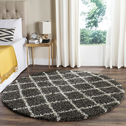Safavieh SGD258A-6R Dallas Shag Collection and Ivory Round Area Rug, 6' Diameter, Dark Grey