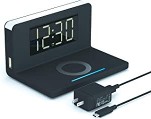 Pointuch Digital Clock, Wireless Charging Alarm Clock with Night Light QC3.0 USB Connector, Modern Desk Clock for iPhone Charging Dock Bedroom Living Room, 12/24H, Snooze Bedside Clock, Black