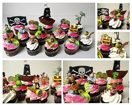 Jake and the Neverland Pirates 15 Piece Birthday CUPCAKE Topper Set Featuring Jake, Izzy, Cubby, Mr. Smee, Captain Hook, Tick-Tock the Crocodile, Pirates and Other Pirate Themed Accessories - Cupcake Topper Set Includes All Items (Peter Pan Jake And The Neverland Pirates)