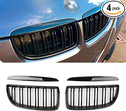 SNA Gloss Black ABS Front Kidney Grille with Single Slat Mesh Grill Compatible for BMW 3 Series E90 E91 M3 4-pc Set 2004-2008