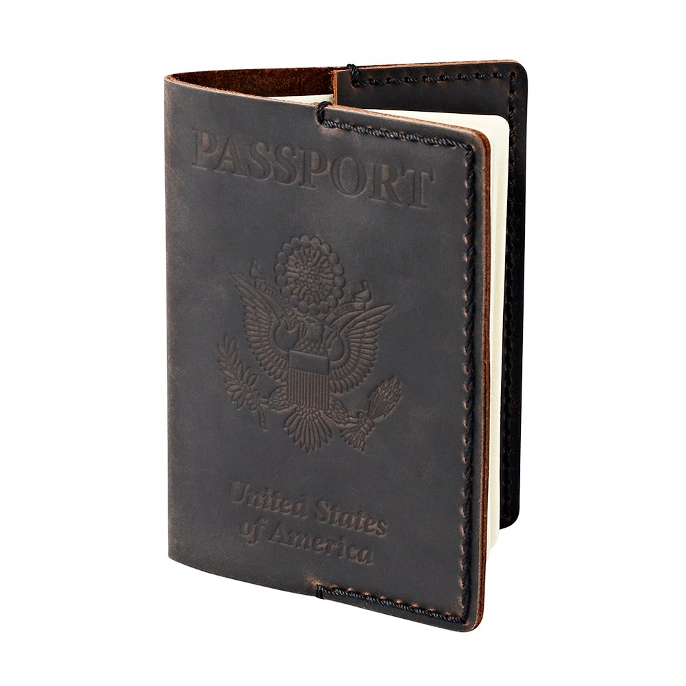 Hand Stitching Leather Passport Cover - Holder for Men and Women - Dark Brown