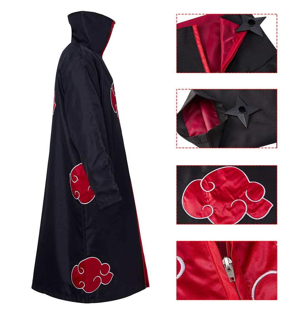 Ocsoc Halloween Cosplay Akatsuki Cloak Costume with Headband Necklace and Ring Itachi Cosplay for Unisex Naruto Fans Black