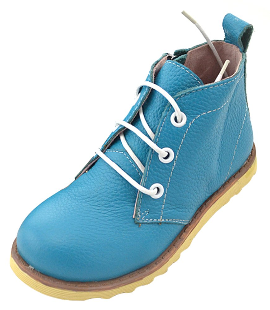 IDIFU Boy's Girl's Breathable Lace Up Side Zipper Flat Martin Boots Short Ankle Booties Blue 9 M US Toddler