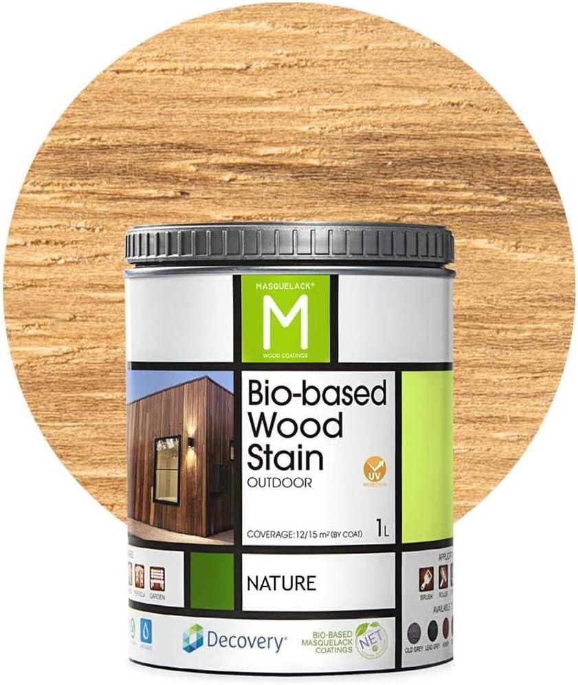Barniz Madera Exterior | Bio-based Wood Stain | 1 L | Barniz ecológico para todo tipo de madera | Pintura madera exterior | color Natural |Flexible y ...