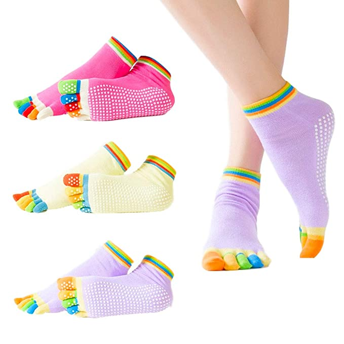 HouChanges 3 pares de calcetines de yoga para mujer ...
