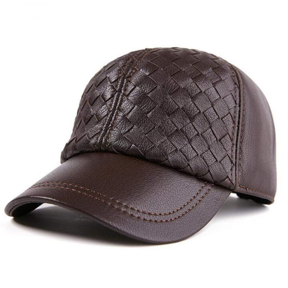 JJSSGGJJMMZZ Visor Genuine Leather Men Women Hats Adjustable Size Baseball Cap of Thick Winter Men's Warm Cap Women's Cap