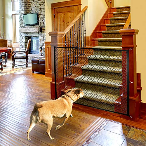 Magic Gate for Dogs, Stretchy Pet Barrier Mesh, Folding Baby Safety Fence, Portable Dog Safe Guard Enclosure for House Indoor Stair/Doorway Use, Width 43