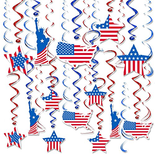 Patriotic Decorations 4th of July Party America Flag Hanging Swirl Ceiling Accessory, Red and Blue Foil Prefect for Memorial Day, Pack of 30 by Friday Night