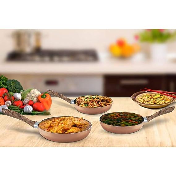 Juego de sartenes, sartén antiadherente estilo cobre con asa, base de hierro de inducción y utensilios de cocina PFOA para lavavajillas.