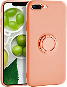 iPhone 8 Plus Case Silicone iPhone 7 Plus Case,Yoopake Liquid Silicone Case with Ring Holder Kickstand Work with Magnetic Car Mount Shockproof Soft Slim Fit Phone Cover Case for Apple 7 Plus,Coral