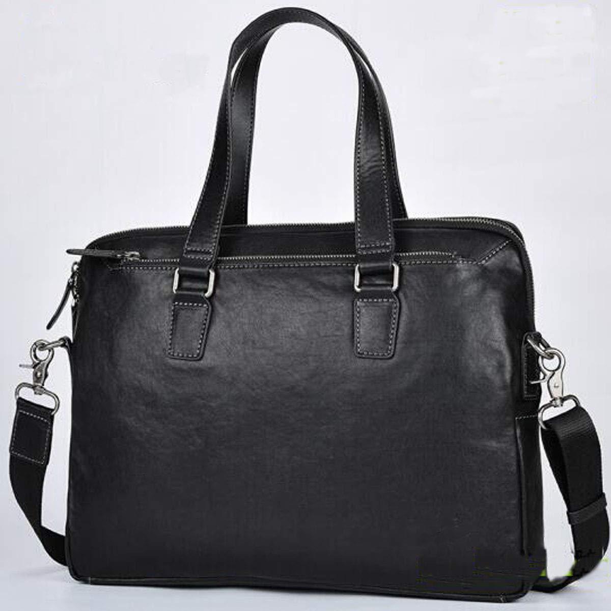 Leather Mens Handbag Lightweight Vegetable Tanned Leather Color : Black 8haowenju Briefcase Black /· Size: 38 9 29.5cm Large-Capacity Backpack Business Computer Bag