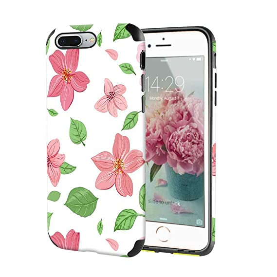 timeless design 46f7a 4056f LAMEEKU Case for iPhone 7 Plus, iPhone 8 Plus Flower Leather Case, Floral  Design Soft TPU Slim Bumper, Embossed Floral Pattern Cover Compatible with  ...