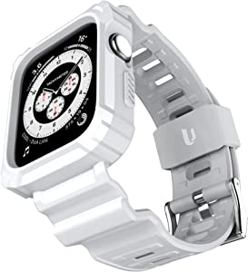 URBANITE for Apple Watch Band 44mm 42mm with Bumper Case, Rugged Protective Drop Shock Resistant Case with TPU Band Strap Fit for iWatch Series 3 4 5 6 SE Men Women Sport Military Style(White)
