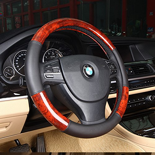 Follicomfy Leather Auto Car Steering Wheel Cover Wood Grain Design,Anti Slip Universal 15 (Bmw Wood)