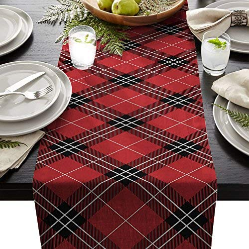 Edwiinsa Classic Plaid Pattern Table Runner For Dining Table Kitchen Wedding Party Decoration Table Top Home Decor 18 x 72 Inch