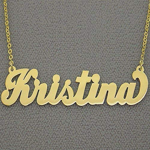 2 Inch Large Name Necklace 10k Gold Personalized Bold Script Font Initials Nameplate Jewelry