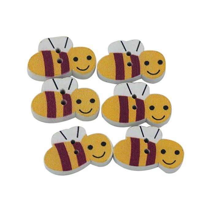 5 Knöpfe Biene Tiere Kinderknöpfe Holzknöpfe Holz
