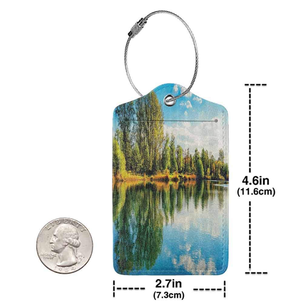 Decorative luggage tag Scenery Decor Serene Rural with the Reflections of Trees on the Water and Vibrant Sky Photo Suitable for travel Multi W2.7 x L4.6