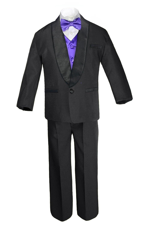 Unotux Boy Satin Shawl Lapel Suits Tuxedo with Purple Bow Tie Vest Set Baby Teen