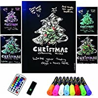 Garain 32 x 22 Flashing Illuminated Erasable Neon LED DIY Sidewalk Message Chalkboard Sign Writing Board, with Remote Control 8-Color Marker Pens for Events&Festival