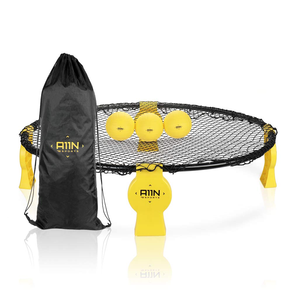 A11N Bing Bang Ball Game Set, Outdoor | Indoor Play Game Set- Premium Round Net - Metal Frame & Nice Bounce Net | 3 Balls | Pump | Drawstring Bag, Beach, Lawn, Backyard, Camping, Tailgate Party, BBQ