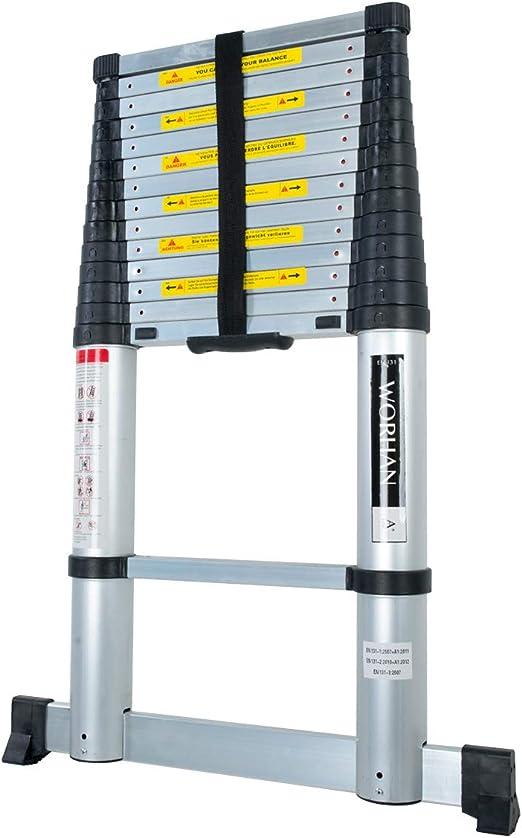WORHAN/® Echelle 4.4m T/élescopique PRO Aluminium Anodis/é Solide Extensible Avec une Barre Stabilisatrice 440cm 1K4.4