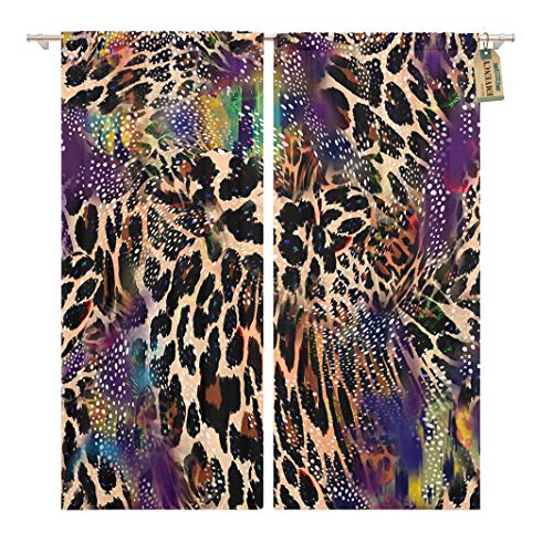 (Golee Window Curtain Purple Abstract Animal Leopard Pattern Africa Black Camouflage Jungle Home Decor Rod Pocket Drapes 2 Panels Curtain 104 x 96 inches)