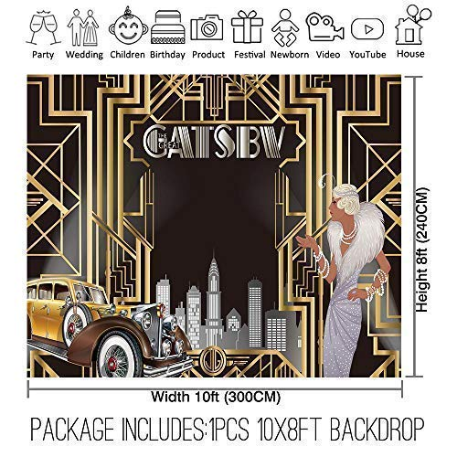 Allenjoy 10x8ft The Great Gatsby Themed Backdrop For Adult Celebration Retro Roaring 20s Graduation Party Art Fashion Decor Birthday Wedding