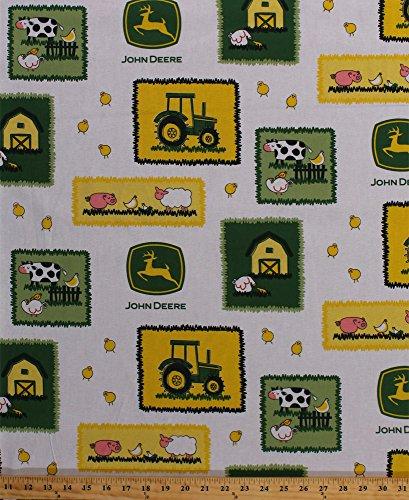John Deere Farm Scene Patches Tractor Logo Chickens Cows Barns Sheep Farm Animals Farmer Farming Cotton Fabric Print by the Yard (John Deere Farm Scene)