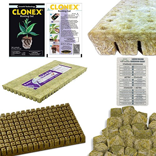 GRODAN A OK ROCKWOOL STONEWOOL HYDROPONIC Grow Media + CLONEX Rooting Gel 15 mL & Twin Canaries Chart - 50 Piece 1 INCH x 1