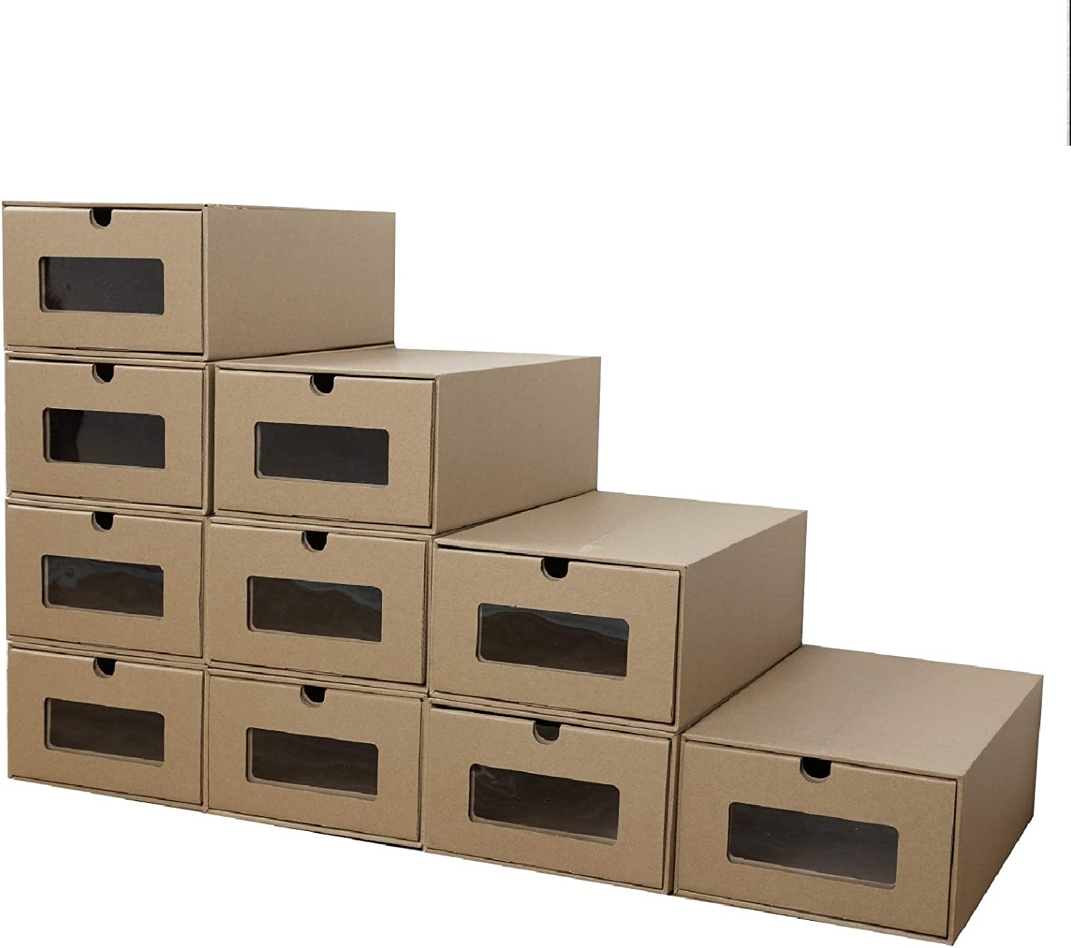 PetHot 10PCS Cardboard Shoe Storage Boxes Drawer Foldable Stackable Storage Visible