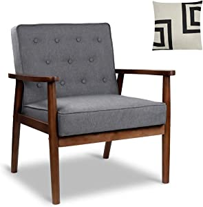 "Mid-Century Retro Modern Accent Chair Wooden Arm Upholstered Tufted Back Lounge Chairs Seat Size 24.4"" 18.3"" (Deep) (Grey Fabric)"