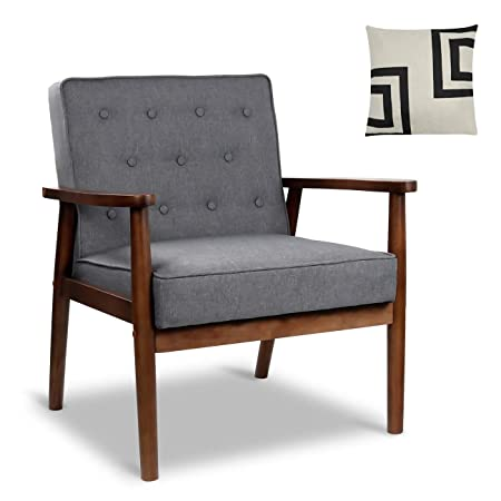 Mid-Century Retro Modern Accent Chair Wooden Arm Upholstered Tufted Back Lounge Chairs Seat Size 24.4 18.3 Deep Grey Fabric