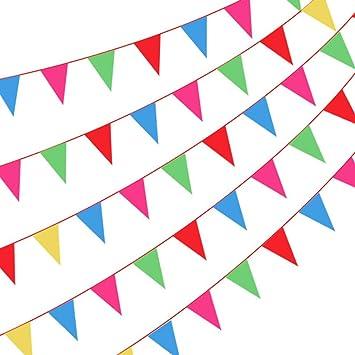 Amaoma 300 Piezas Banderines Fiesta Rojos Banderines de Tela 160 Metros Multicolor Banderín Banderines Cumpleaños Guirnaldas Decoracion Articulos de ...