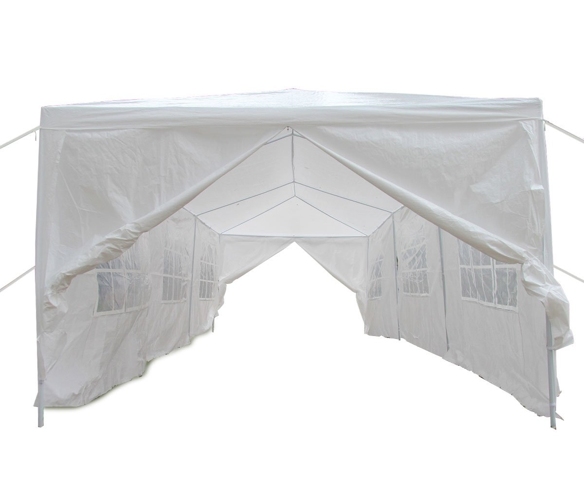 Qisan Canopy Tent Carport 10 X 30-feet Domain Carport Party Wedding Tent with sidewalls, White(Calm Environment Only)