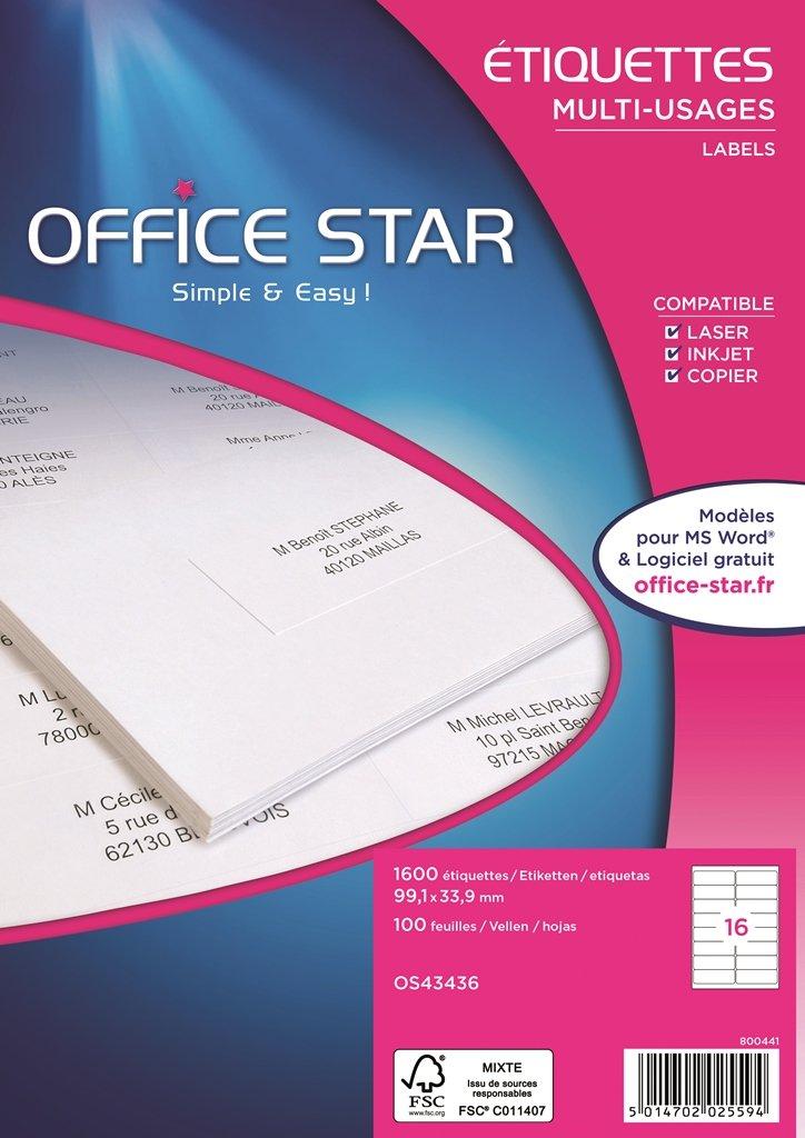Office Star/ /Confezione di 1600/etichette multiuso 99,1/x 33,9/mm Bianco