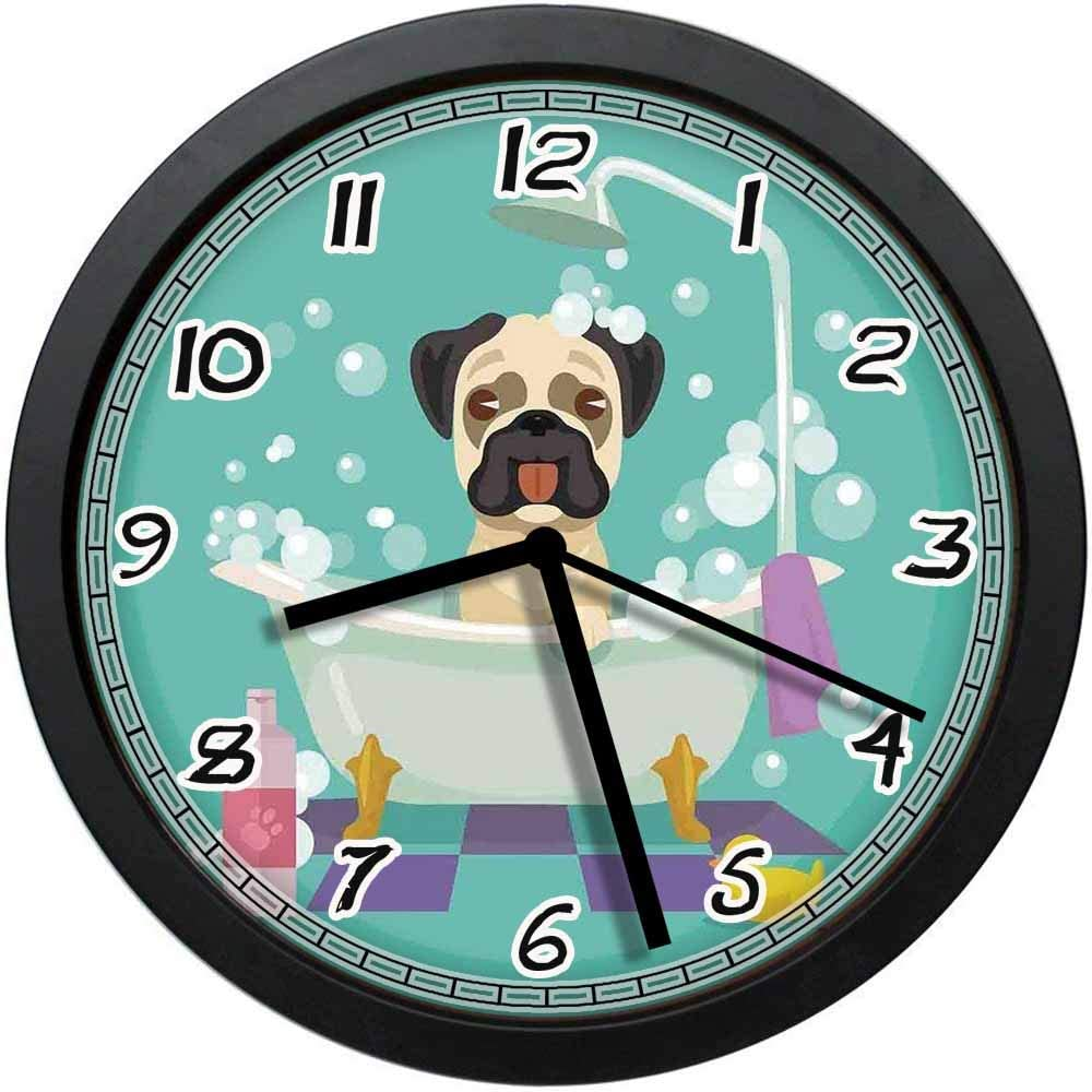 BCWAYGOD Pug Dog in Bathtub Grooming Salon Service Shampoo Rubber Duck Pets in Cartoon Style Image Non-Ticking Wall Clock Silent Home Decor Battery Operated Clock 12 Inch