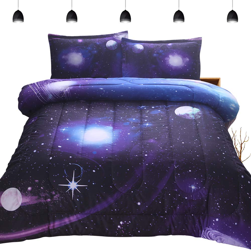 "PomCo 3D Galaxy Microfiber Comforter Set Full Size (78""x90""), 3 Pieces Soft Space Bedding Set-1 Comforter and 2 Pillow Cases, Reversible Purple Galaxy Bedding Comforter Set for Boy Girl Teen Kid"