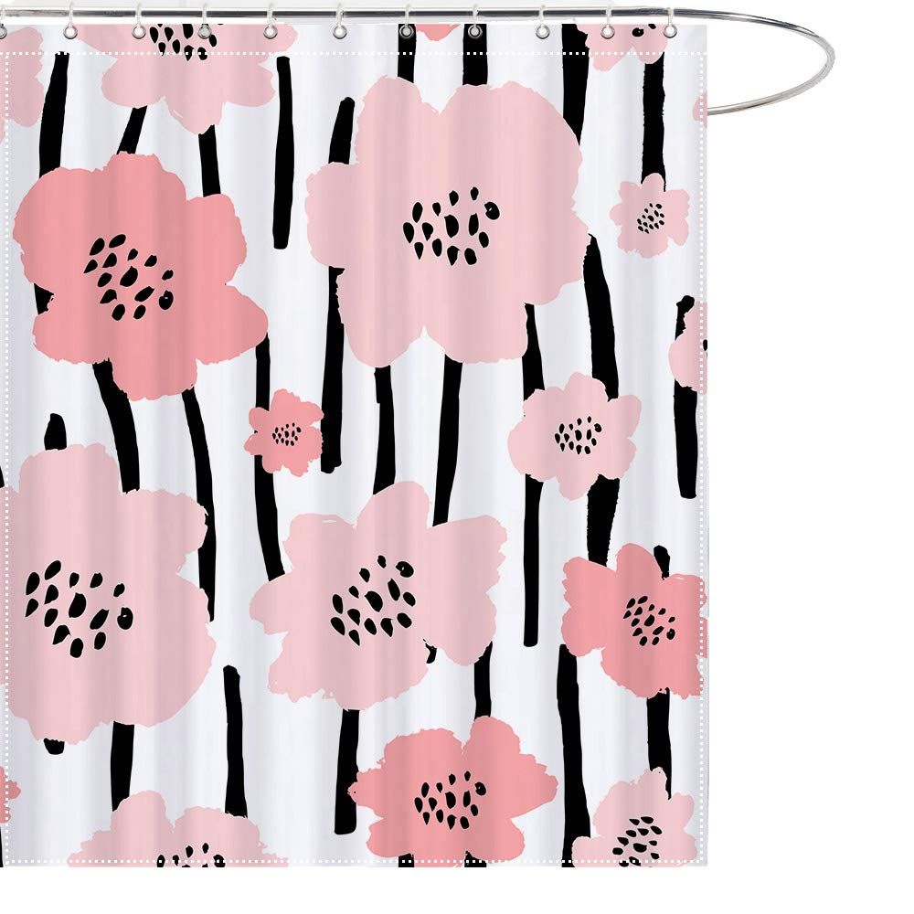 MAEZAP Ink Painting Flowers Shower Curtain Watercolor Bathroom Decor Waterproof Polyester with Hooks 69x70 Inchs