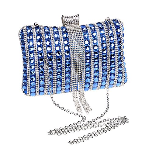 Wedding Bags Evening Shoulder Orfila Clutch Tassel Diamond Out Dress Women Handbag Party Blue xC8SqPgw