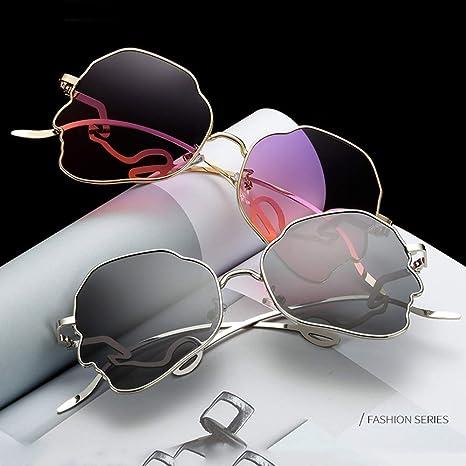 CHUSHENG Gafas de Sol de Acero Inoxidable, Gafas de Montura de Cabeza, Montura Principal, Moda, diseño clásico, Damas, Hombres y Mujeres (con Estuche para ...