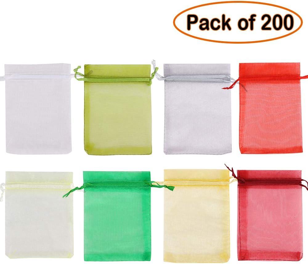 1 Mix Colorful Shade Time to Sparkle 100 Pi/èces Pochettes Cadeau Sachets en Organza avec Rubans Bijoux Sac De Mariage Parti Pochettes 9x12cm-100pcs