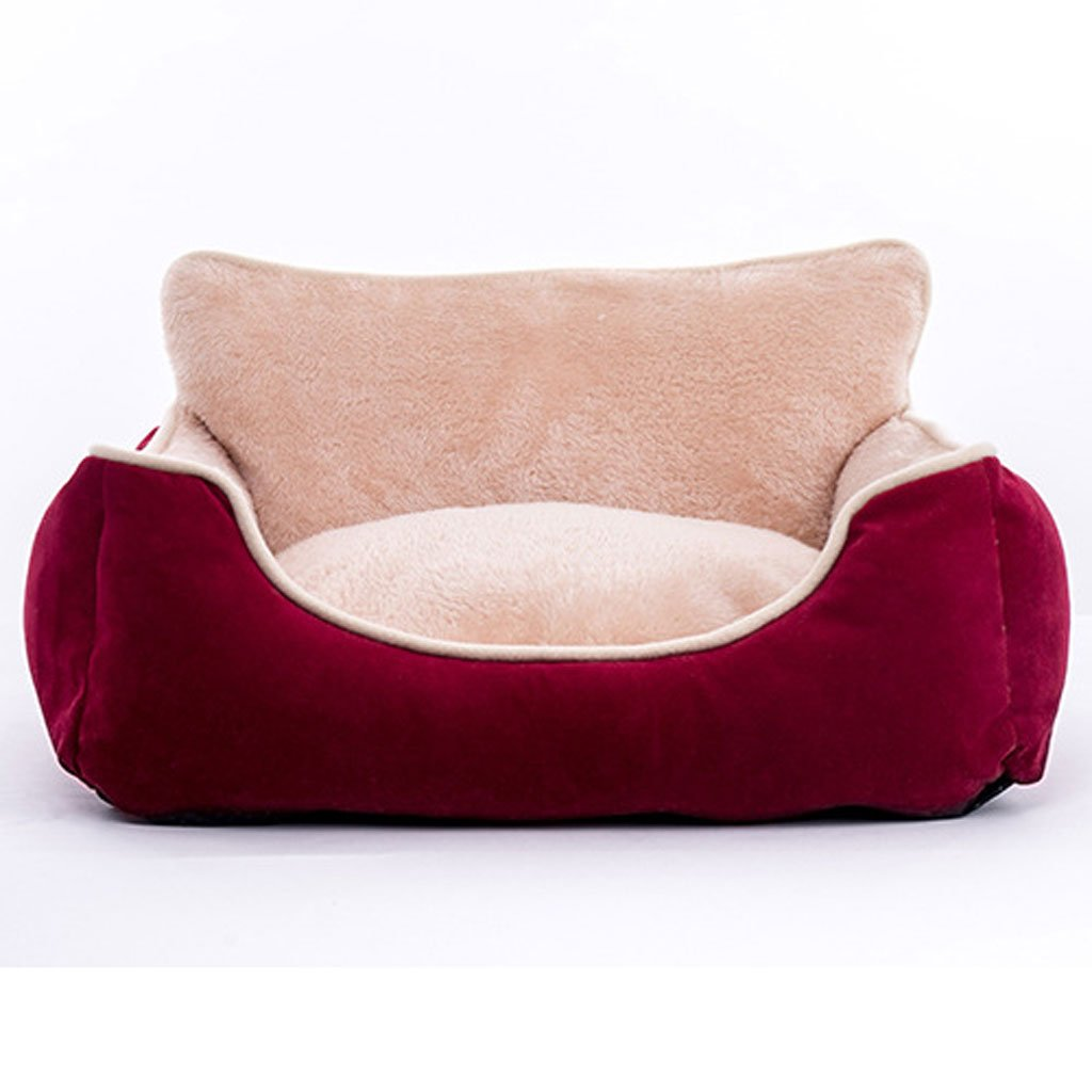 RED LMoolo Pet bed plush kennel soft and comfortable breathable waterproof nonslip durable multicolor optional A03 Dog Bed (color   RED, Size   L)