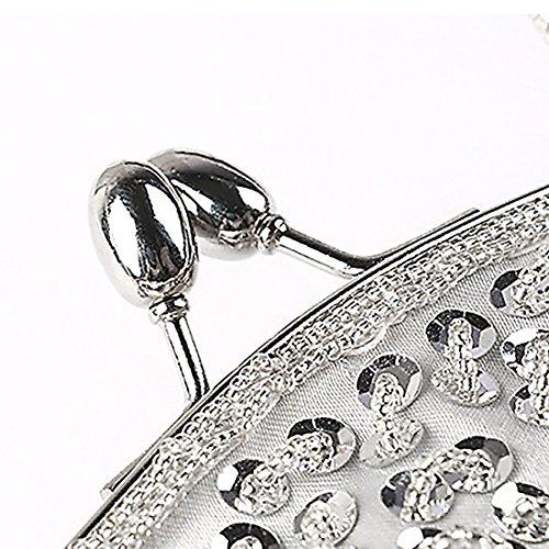 Evening Interior Beaded Silver Lock Clutch Kissing Design Metal Sequin Frame Satin KNUS z8dBfx8