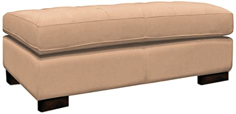 Omnia Leather Peninsula Storage Bench Ottoman In Leather, Espresso Legs,  Guanaco Marmo